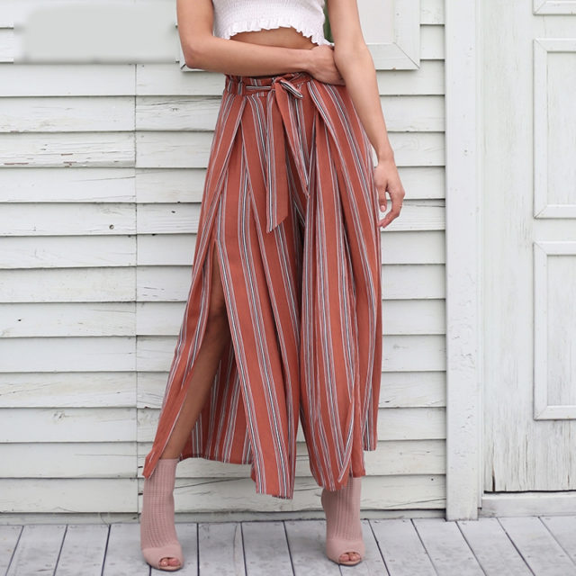 Women's Viscose Striped Loose Trousers