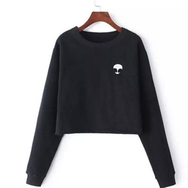 Women's Fleece Crop Alien Printed Sweatshirt
