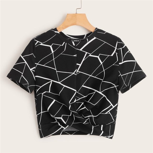 Women's Marble Printed Top